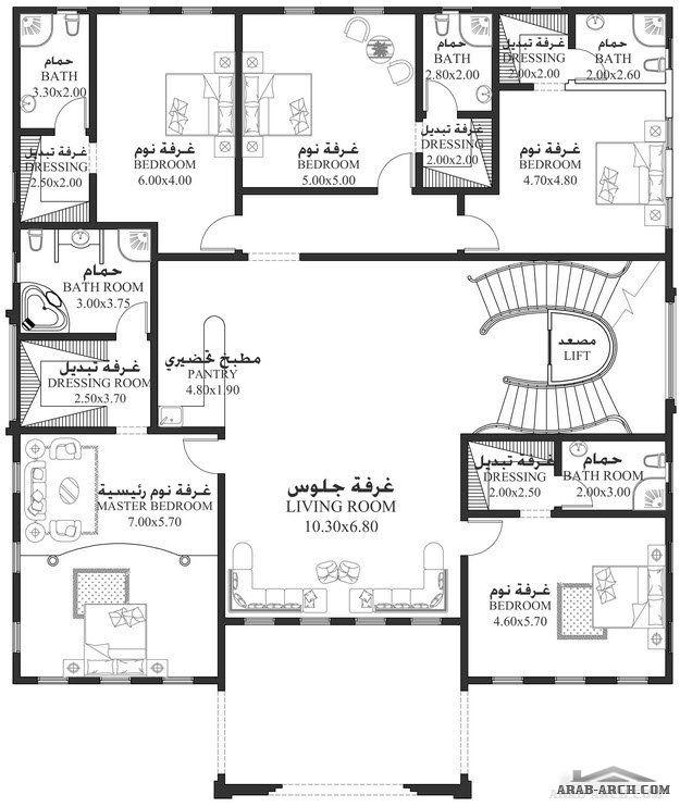 خرائط الفيلا 6 غرف نوم 788 متر مربع طابقين سكن Square House Plans House Plans Mansion Two Story House Design