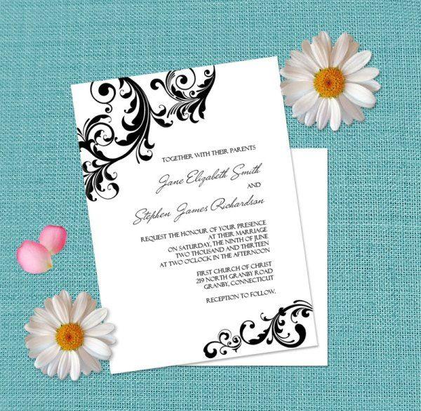 Free Printable Swirls Border Wedding Invitation  http://www.freetemplateideas.com/67-lovely-free-printable-wedding-invitations/