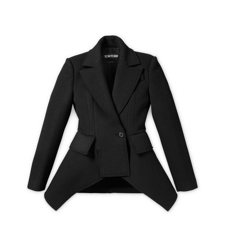 TOM FORD Double Breasted Wool Cashmere Peplum Coat.
