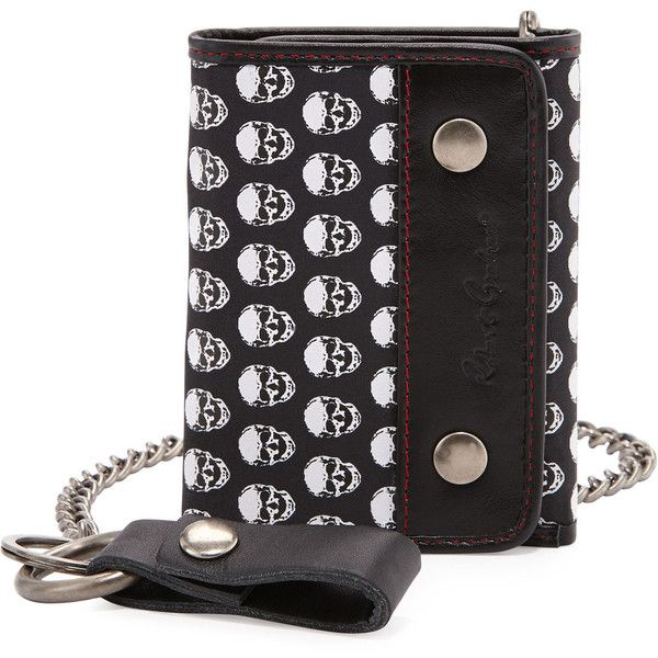Robert Graham Skull-Print Leather Chain Wallet ($39) ❤ liked on Polyvore featuring bags, wallets, skull prin, leather trifold wallet, leather chain wallet, tri fold chain wallet, leather snap belt and chain wallet