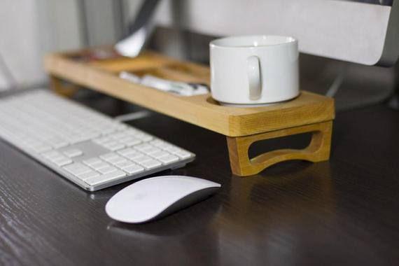 Alder Wood Desk Organizer Desktop Shelf Office & Home Keyboard