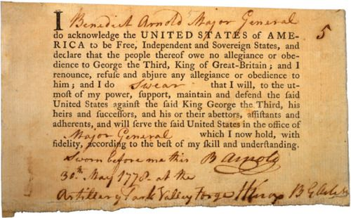In 1778, Major General Benedict Arnold swore allegiance to the fledgling United States. Two years later General Arnold would betray his oath by conspiring to surrender West Point to the British.