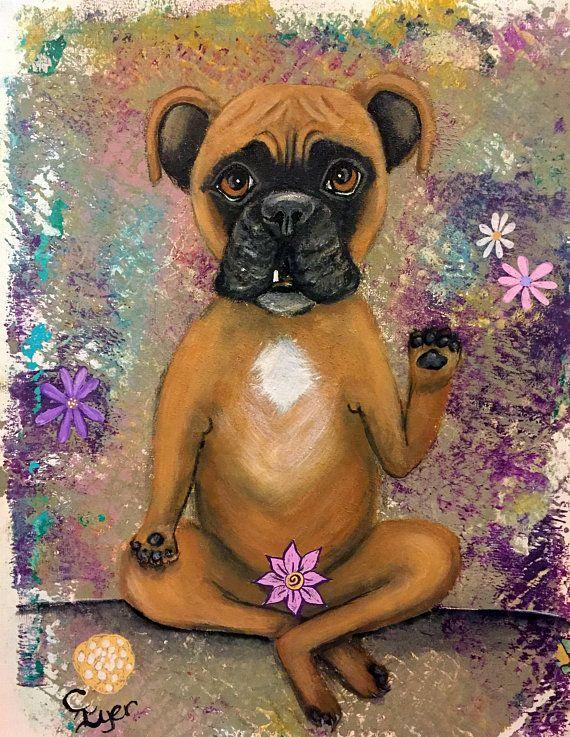 Original Whimsical Boxer Waving Dog Painting Boho Decor Fine Colorful Dog Art Dog Art Funny Dog Faces