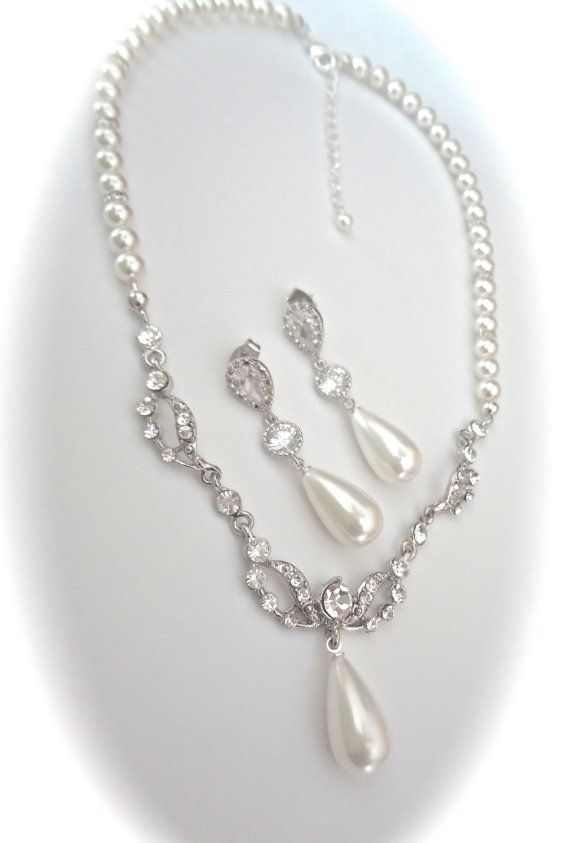 Pearl jewelry set Pearl drop necklace and by QueenMeJewelryLLC