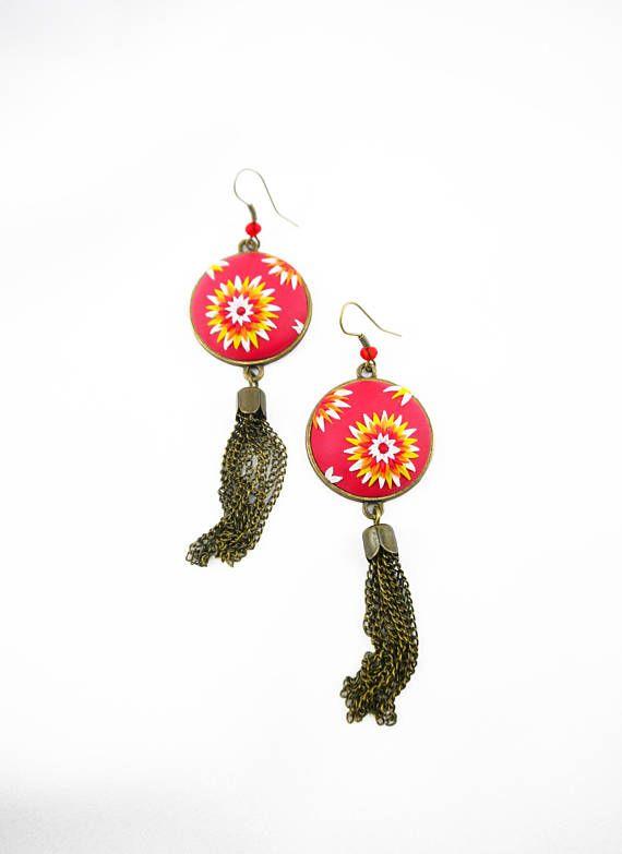 Floral earrings Chain tassel earring Floral jewelry Polymer