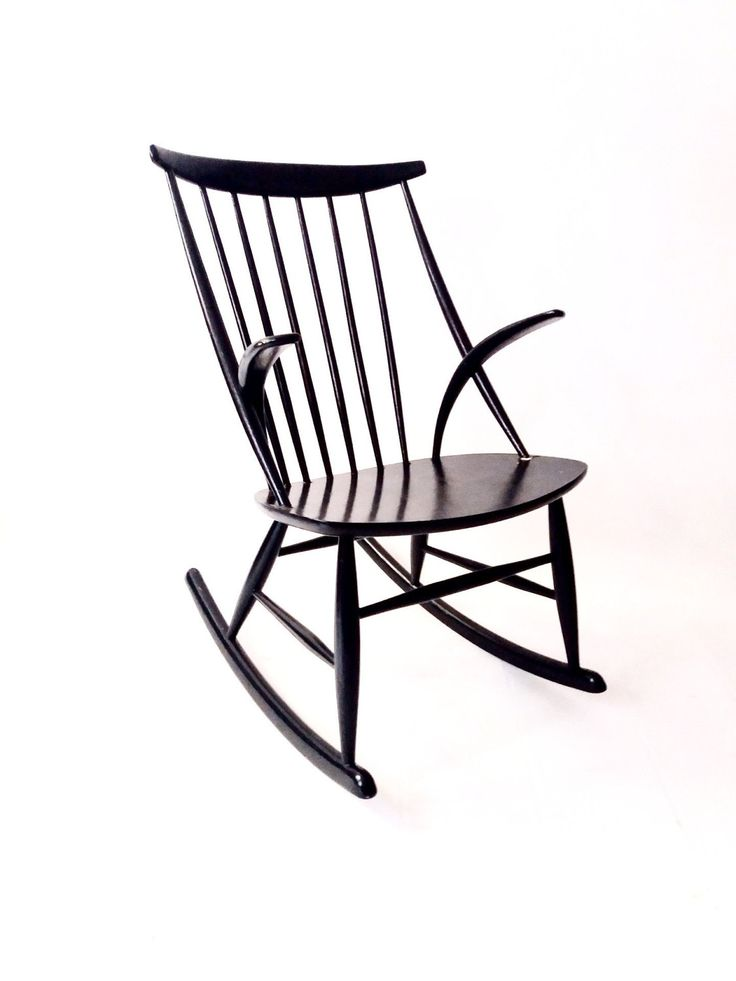 Illum Wikkelsø rocking chair in black by CopenRetro on Etsy