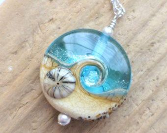 Kleine Strand-Halskette Meer Lampwork Glas Welle Halskette