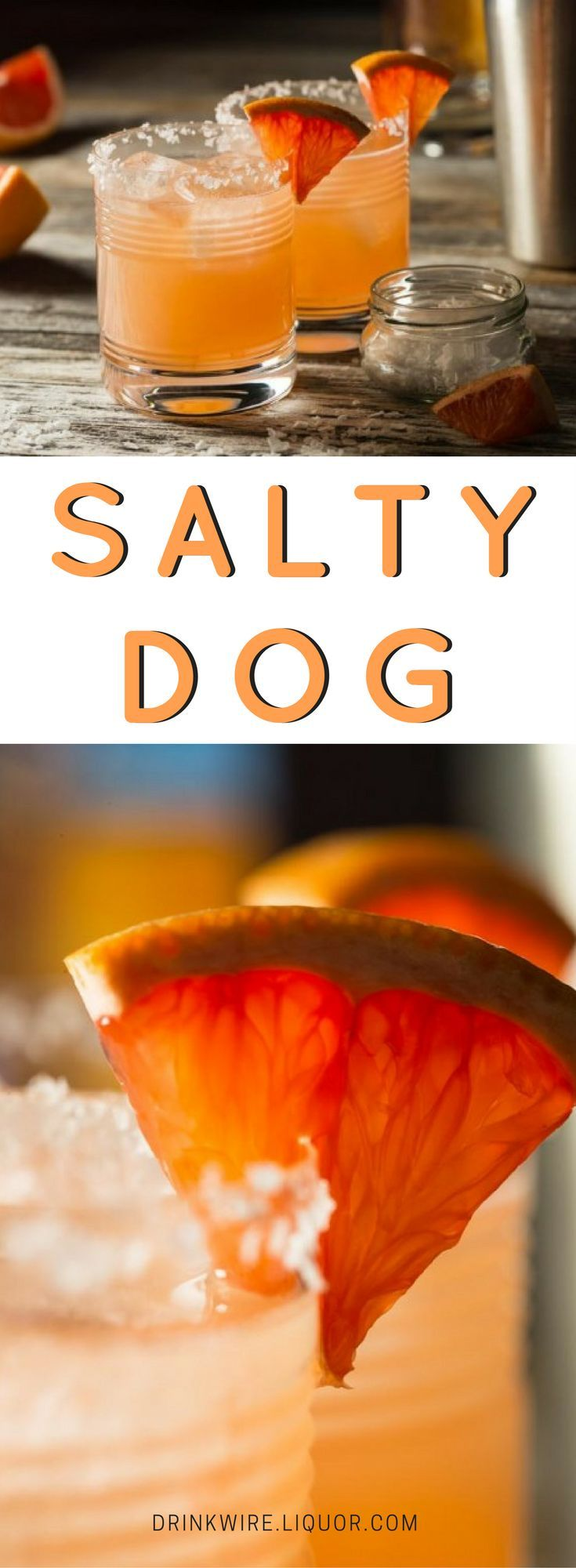 The Salty Dog cocktail is an easy-going mix of either gin or vodka with freshly squeezed grapefruit juice. These two ingredients are then shaken up and then served in an ice-filled, salt-rimmed cocktail glass. A similar drink of gin and grapefruit was popular in the 1930s and 40s and was known as a Greyhound.