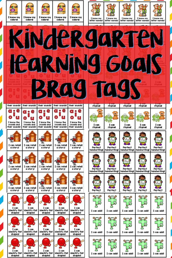 Kindergarten Learning Goal Brag Tags. Includes 45 tags in both color and black and white. Great way to celebrate and motivate students to learning kindergarten standards.