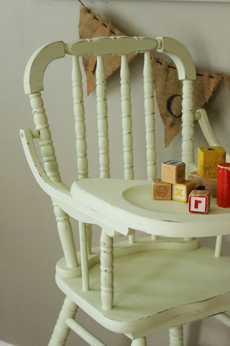 Painted wooden high chairs - 1950s Painted Wooden High Chair And Wooden Blocks