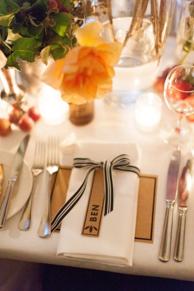 the idea of a ribbon around napkin... nice detail to add some pizazz
