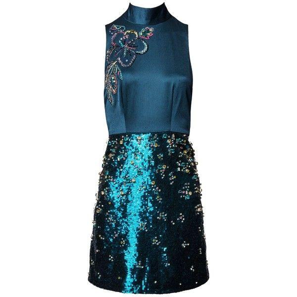 Matthew Williamson Teal High Neck Embellished Mini Dress ($860) ❤ liked on Polyvore featuring dresses, vestidos, short, sequin mini dress, blue sequin dress, blue party dress, short beaded cocktail dresses and short sequin dress
