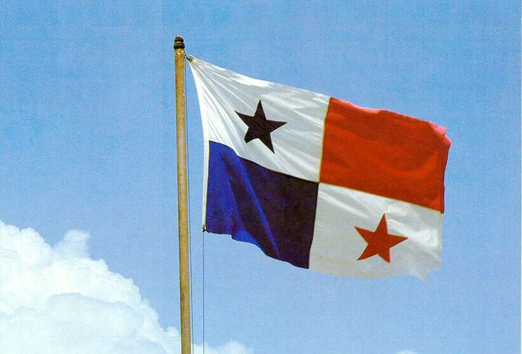 The flag of Panama. The colors represent the two political parties of Panama: red- liberals, and blue- conservates. The white represents peace between the parties. Fact: The Panamanian flag is based off the design of our flag.