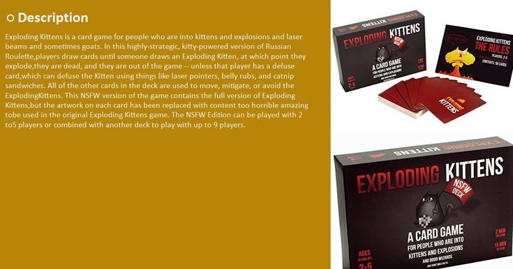 Exploding Kittens- NSFW Edition Explicit Content  ADULTS ONLY!Online  Buy it on Amazon  http://suggestionstips.com/Product.html?2BfWEDx  Discount Exploding Kittens- NSFW Edition Explicit Content  ADULTS ONLY! Community  Click the link to buy now or to read the 4 & 5 Star Reviews.  Like us on Facebook for videos pictures coupons prizes and more  https://www.facebook.com/Suggestion-Amazon-Product-216189025620711/  Discount Exploding Kittens- NSFW Edition  View On WordPress  via Tumblr…