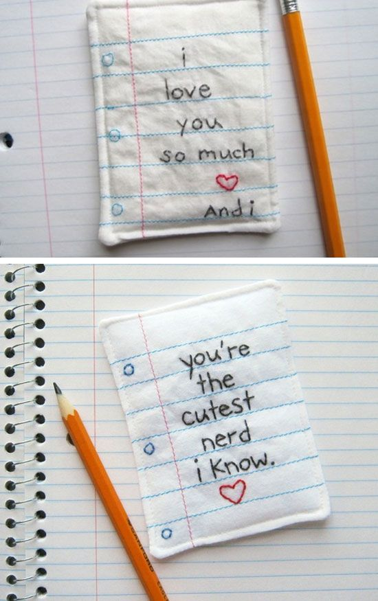 Embroidered Love Note | DIY Valentine Gifts for Boyfriend for Teens