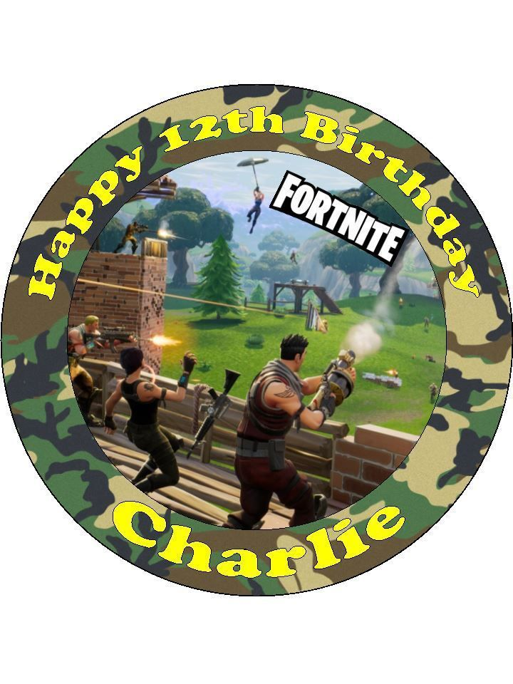Personalised Fortnite Battle Royale precut round icing