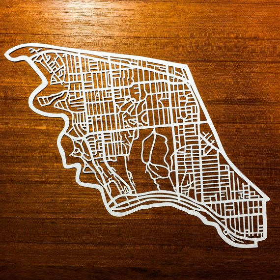 Paper cut map of Parkdale High Park riding by CUTdesignsrt