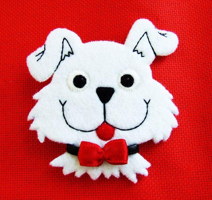 dog felt brooch