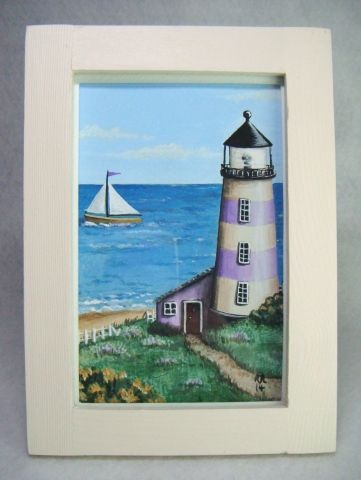 'Headland House' Folk Art Style Framed Original Painting - £14.50 at…