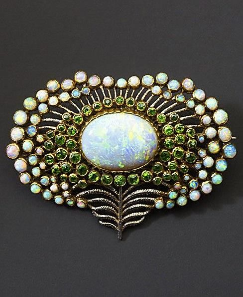 Art Nouveau Opal and Demantoid Peacock brooch circa 1900