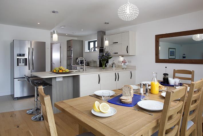 Dining and kitchen area, perfect for preparing all meals with a well equipped kitchen. Why not treat yourself to one of our recommended private caterers to make your holiday that bit more special