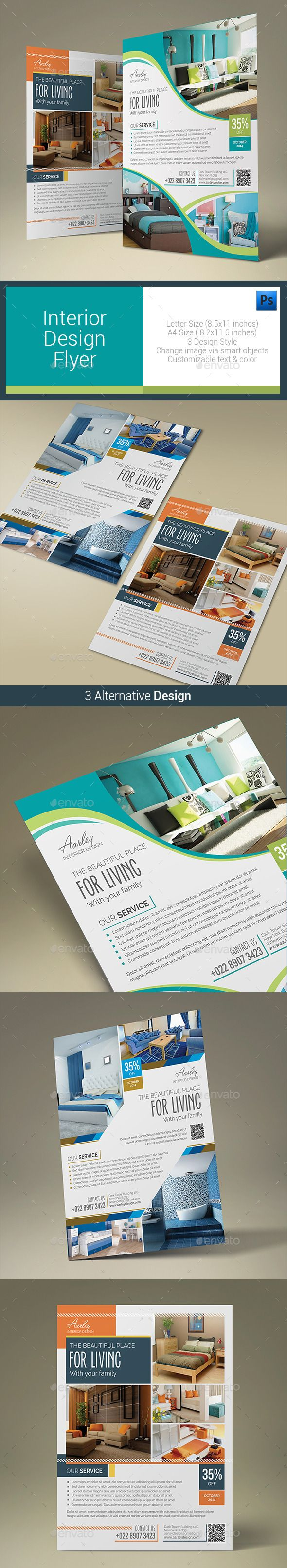 Interior Design Flyer — Photoshop PSD #magazine ad #brown • Available here → https://graphicriver.net/item/interior-design-flyer/10485606?ref=pxcr
