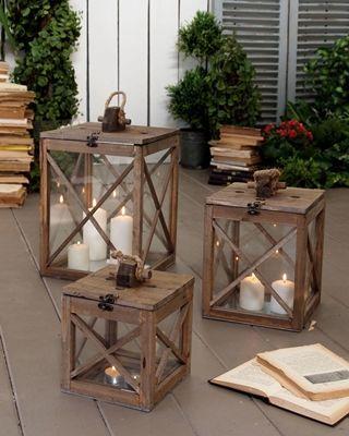 Set 3 lanterne antique wood - cm.28x28xh.45 (56.2324)