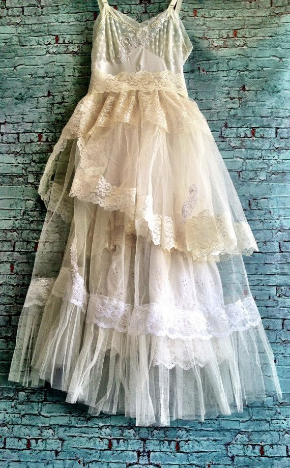 white off white applique lace & tulle boho princess tiered wedding dress by mermaid miss k......this is really different! so pretty and elegant:)