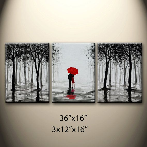 large original abstract painting walking in rain black by maggyart