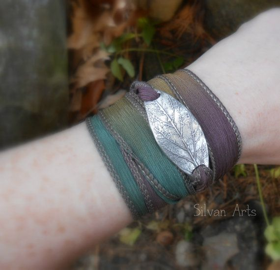Leaf Bracelet – Wrap Bracelet Made From a Real Leaf – Silk Ribbon Wrap – Silvan Leaf – Artisan Handcrafted Recycled Silver Botanical Jewelry – Rumah Belajar