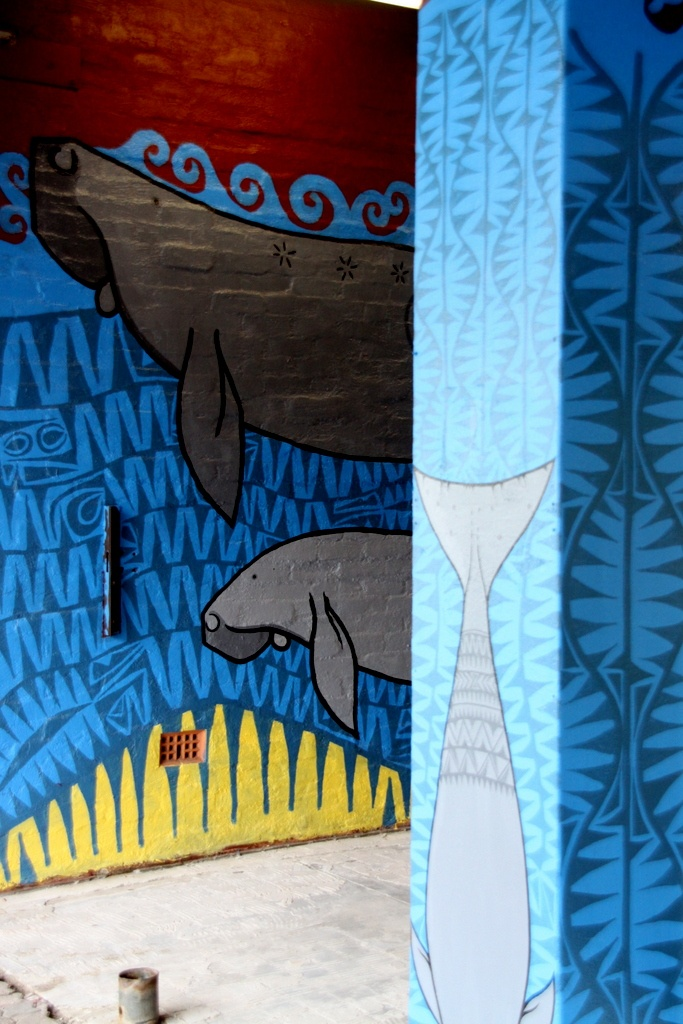 A 33 metre mural in Cairns North Qld Australia featuring dugongs and sharks nearing completion.