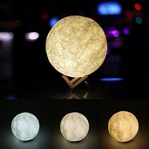 Moonlight Moon Lamp 3D Printing USB Night Lunar Light Desk Decor 2 Light Colors