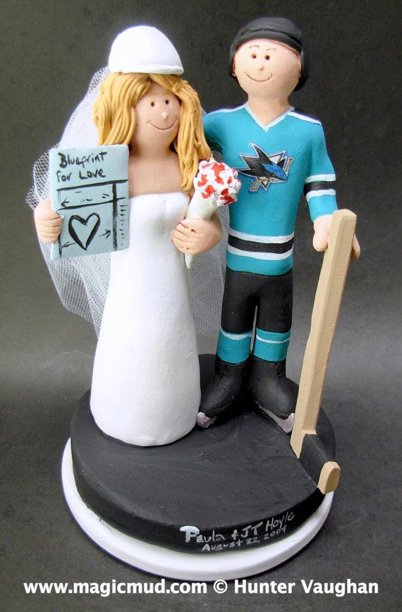 San Jose Sharks Hockey Wedding Cake Topper, Hockey Bride and Groom Wedding Cake Topper, Hockey Wedding Anniversary Gift , Hockey Caketopper   Handmade to your specifications by magicmud.com of kiln fired clay. Perfect one of a kind personalized keepsake for a Hockey Player Wedding Cake Topper. $235 #magicmud 1 800 231 9814