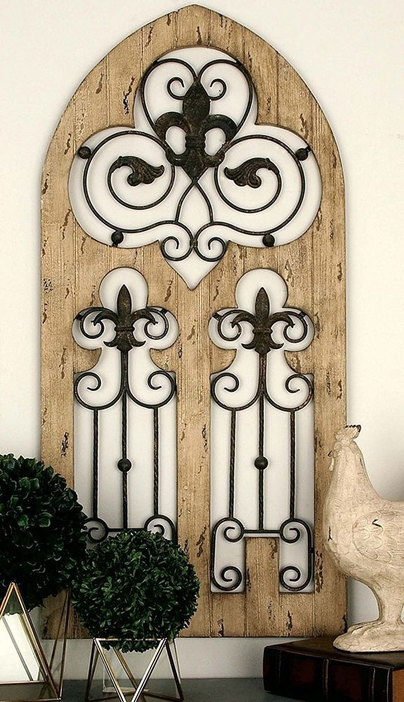 Antique Rustic French Country Tuscan Wood Metal Window Gate Style