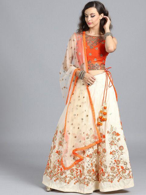 23870893e Chhabra 555 Orange   Beige Made To Measure Embroidered Lehenga   Blouse  With Dupatta  Lehenga  Orange  Beige  Embroidered  Wedding