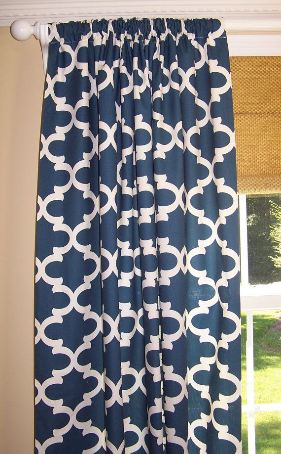 Navy CURTAINS. Dark Blue Curtains. Moroccan. Dark Blue. Premier Prints Fabric. Custom Drapery Panels. 50 Wide. Rod Pocket. Add Grommets. Blackout  2 Panels each 50 wide. You choose your length.  Manufacturer: Premier Fabric Medium Weight Home Decor Fabric 100% Cotton All curtains are handmade in my smokefree workshop 3 Rod Pocket Top, 4 hem, 1 Side Hem  If you would like to add grommets, click here: https://www.etsy.com/listing/111746935/add-grommets-to-curtains-drape...