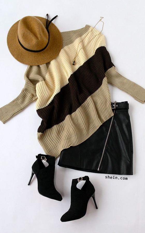 Cozy chic style-Color block asymmetric dolman sleeve sweater outfit.