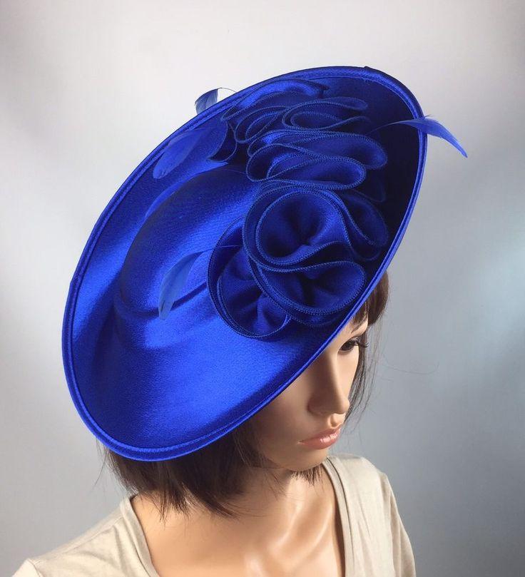 Royal Blue Fascinator Pink Satin Hatinator Wedding Races Ascot Mother Bride  | eBay
