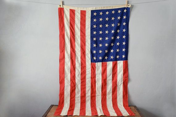 48 Star Flag  Vintage American Flag  1950s by TimberAndTwine, $110.00