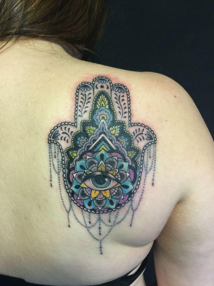 Hamsa tattoo by Oksana weber cover up