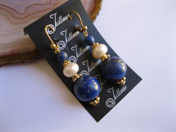 Chunky Lapis and Pearl Earring in Gold Vermeil by Julleen