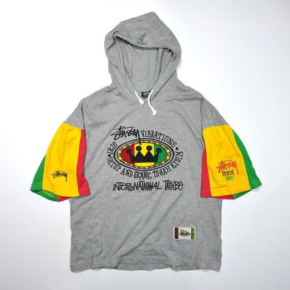 Vintage 80s 90s STUSSY INTERNATIONAL TRIBE   Retro Hoodie   Rasta Jamaica  Skateboarding   Feelin Irie   Streetwear Rap Hip Hop Swag Shirt 0fe45557445e
