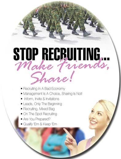 """Stop Recruiting… Start Sharing and Making Friends!"" This simple tip will revolutionize the ability of your team to share the business opportunity. As a matter of fact, making friends is the key to direct sales success.  In Sales instead of seeking out recruits or bookings or even sale of products when you seek to make friends all the rest will follow! So, ""Stop Recruiting & Start Making Friends""! It is simple and it works! www.DebsTraining.com"
