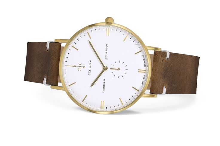 Nick Cabana watch - Talisman Gold.   Classic gold watch for men. Minimalistic design, brown leather strap and white dial.