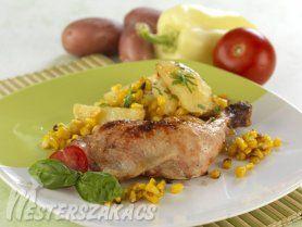 Tepsis csirkecombok velesült kukoricás burgonyával recept