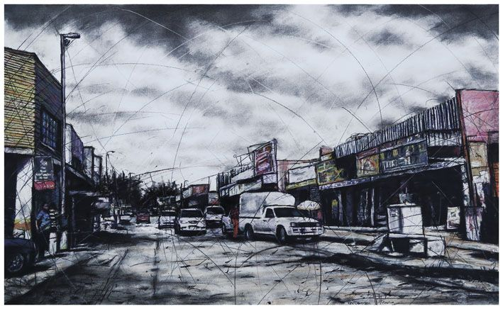 An original work by Phillemon Hlungwani entitled: No: 36 1st Avenue PAN AFRICA (ALEX) II mixed media on paper 70 x 115cm For more please visit www.finearts.co.za