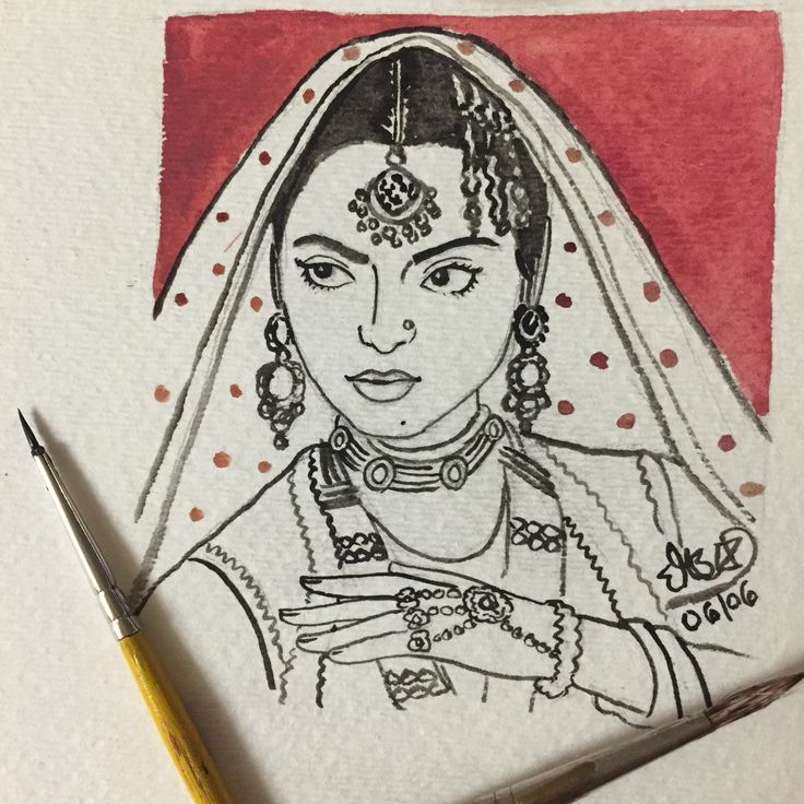 #dailysketch practice 🎨 #timeless #beauty of #bollywood #rekha #umaraojaan #watercolor #art #illustration #blackandwhite #ink #india #sketch #character #sketch #bygoneera