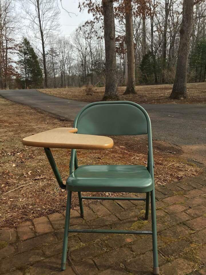 Krueger Folding Chairs Swing Chair History Vintage Retro Green Metal With Desk Home School Tiny House Midcenturymodern