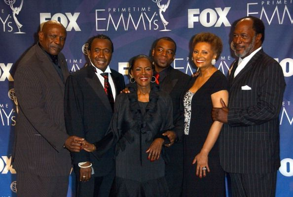Actor Lou Gossett Jr actor Ben Vereen actress Cicely Tyson actor LeVar Burton actress Leslie Uggams and actor John Amos pose in the press room at the...
