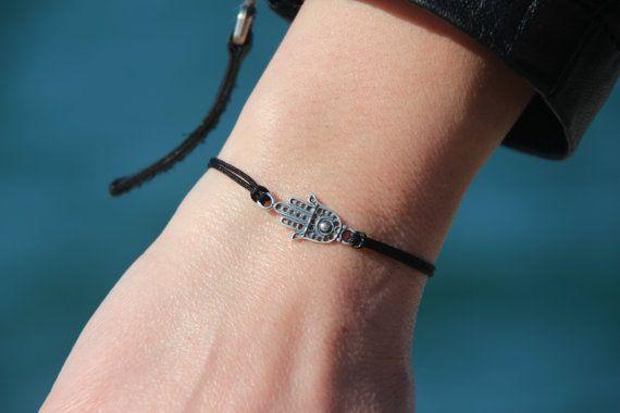 Hamsa Macrame Bracelet Adjustable Bracelet Silver by GozdyJewelry